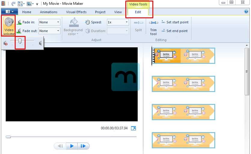 Menghilangkan suara pada video di Movie Maker