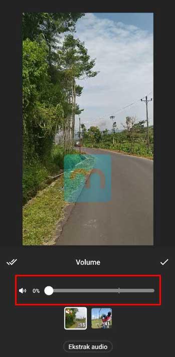 menghilangkan suara di video dengan inshot