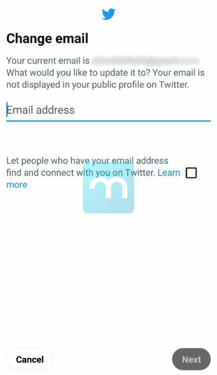 Change Email Twitter